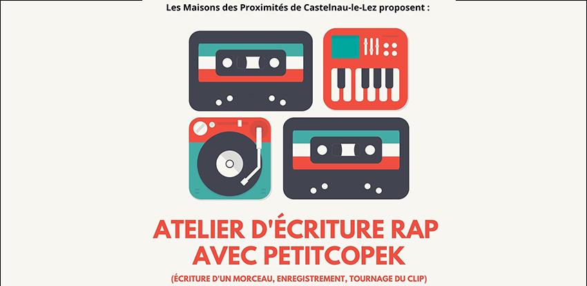 Atelier d'écriture rap avec Petitcopek avec les Maisons de Proximités !